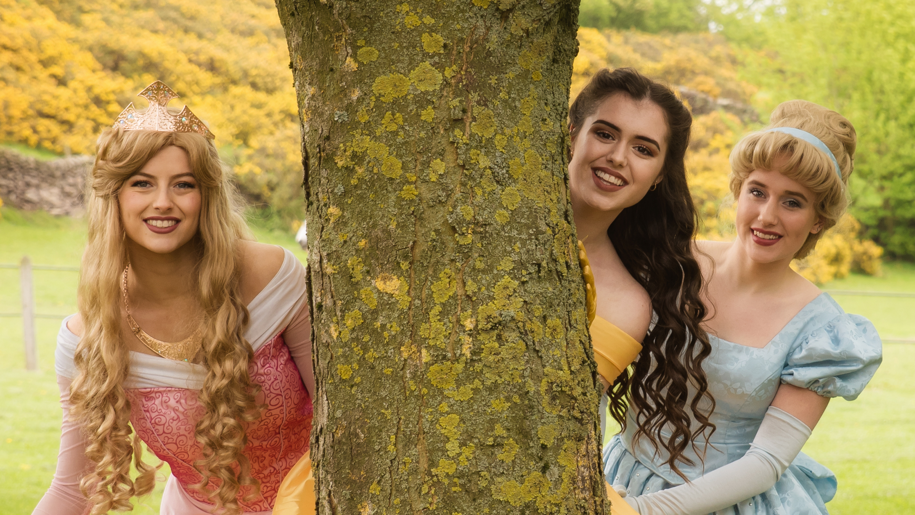 3 Princesses hiding behind a tree